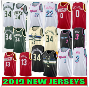 New Hot NCAA Giannis 34 Antetokounmpo Men College Maillots Dwyane Wade 3 Jimmy Butler 22 Russell Westbrook 0 James Harden 13 Cousu
