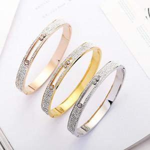 Кубический цирконий Кристаллы Три поворачивающихся браслетов для женщин Авто Любви браслетов Моды бренд Мода из нержавеющей стали браслетов