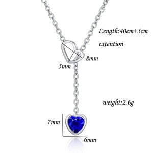New Fashion Womens Blue Heart Diamond Pendant Adjustable Choker Necklace Cubic Zirconia Valentine Birthday Gifts for Women Jewelry Wholesale