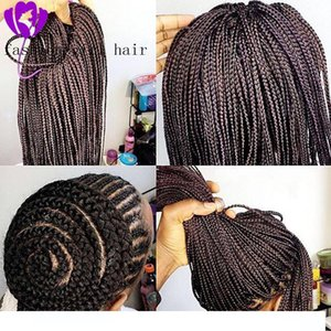 2020 new Long Box Braids Black Color Lace Front Braid wigs Synthetic Lace Front wigs Braided Hair With Baby Hair for Black hairs