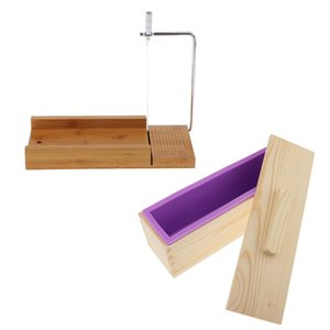 Wooden Box, Silicone Soap Loaf Mold and Soap Cutter Wire Slicer, for DIY Soap Cake Chocolate Making Tools