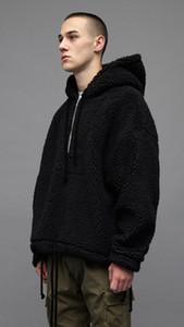 El mejor diseño de la marca streetwear de gran tamaño medio zip sherpa sudadera con capucha pullover hombres polar de piel con capucha
