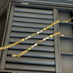 D family 2020 CD letter pearl necklace female di family star Clover High version bracelet