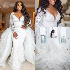 Plus Size Sirena Abiti da sposa con manica lunga 2020 Modern Staccable Train Pearls Pearls African Garden Beach Gowns