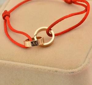 casal atacado- corda mão cadeia pulseira vermelha pulseira de ouro 18K titânio banglles para as mulheres