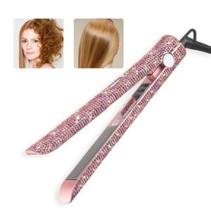Madami LCD Display Haarglätter Titanium Haar-flaches Eisen Schwimmplatte Rose Gold Kristall Strass Griff Schnelle Heizung Styling Werkzeuge