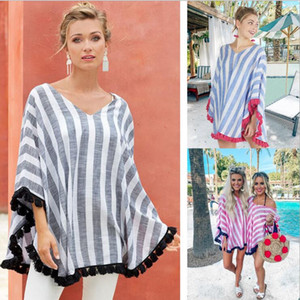 Kadınlar çizgili V Boyun Cloak Kadınlar Tasarımcı Giyim Moda püskül şal Casual Tees Hamile Kadın Yaz Elbise tişört Sıcak C520 Tops