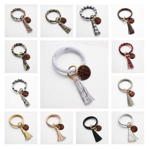 Leather bracelet Key ring tassel personalized wood disc pendant Bracelet Keychain Girls Wrist Pendant 13 Colors BBA17