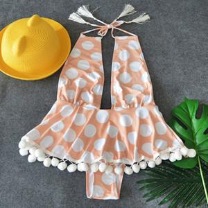 2018 New Ruffle Pattern One-Piece Swimsuit Bathing Suit Swimwear Beachwear For Women Dot Pattern Tankini MX200613