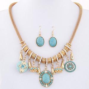 Europeu Retro Bohemian Vintage Nacional de turquesa girassol Pedrinhas Temperamento Colar Pingente Gota Dangle jóias conjunto