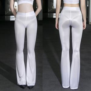 Huile Pantalon brillant Brillant Flare super mince transparent See Through Hot Sexy Nuit Clubwear effet mouillé Leggings haute élastique Legging