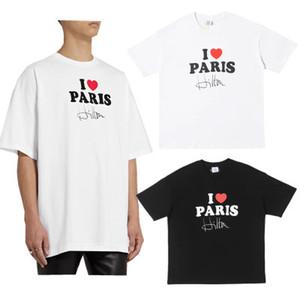 Amor París manuscrita 20SS VT I firma impresa Tee calle de manga corta de verano sólido ocasional de la camiseta de Hip Hop Tee transpirable