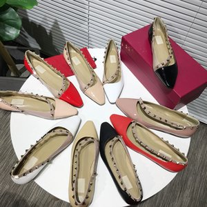 With box of new fashion luxury designer women's shoes leather flat shoes 5 color pop rivet dress wedding dress shoes