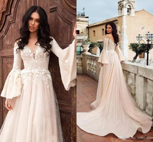 Stylish 2020 Beach A Line Boho Wedding Dresses Lace Applique Long Sleeves Tulle Sweep Train Bridal Gowns