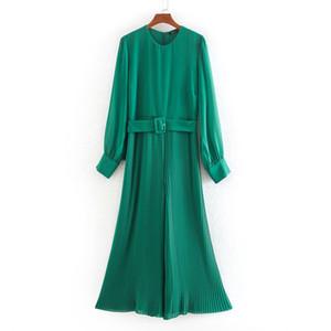 Stilvolle schicke grüne Krawatte Gürtel Taille Jumpsuits Frauen Mode Oansatz Kragen Jumpsuits Elegante Damen gefaltete