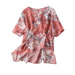 Prairie Chic Ramie Print Camisetas De Mujer 2020 женские летние рубашки и блузки Camisas Estampadas De Mujer