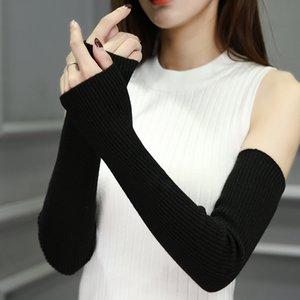 Scaldamuscoli femminili senza dita caldi moda-mano Solido braccio manica polsino in lana guanti lavorati a maglia per donna inverno mantenere caldo alto elastico