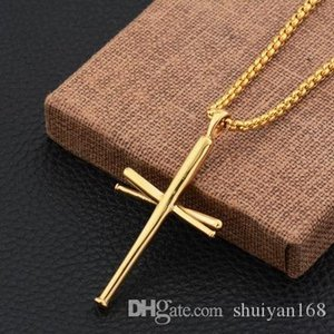 Baseball Bat Cross Pendant Necklace Hip Hop Stainless Steel Statement Necklace Punk Cross Necklace Gym Sports Biker Jewelry Christmas Gift