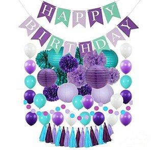 Sereia Pequena Festa Suprimentos Feliz Aniversário Bandeira Bandeira De Papel Bola Borlas Ballon Do Chuveiro Do Bebê Favor DIY Decorações de Casa