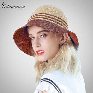 Summer Sun Visor Caps Chapeau de paille naturelle raphia Femme Voyage pliant Uv Protection chapeaux de soleil pour les femmes Grand Brim Floppy Cap Gril
