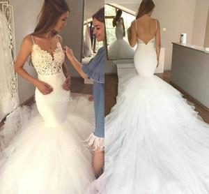 우아한 레이스 머메이드 웨딩 드레스 스파게티 스트랩 백리스 코트 트레인 Tulle Shirt 신부 드레스 Chapel Vestidoe De Noiva Custom
