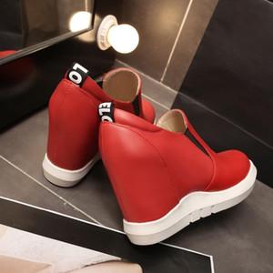 La venta caliente-aumento de la altura de las mujeres zapatillas de deporte de 2019 talones de otoño del resorte Comfort zapatos planos zapatos casuales mujeres plataforma de las cuñas femeninas Negro