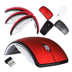 Hohe Qualität faltbare Falte 2.4G 3 Tasten drahtlose Noten optische Mäusemäuse Bogen geformt Mond-Art USB-Mäuse