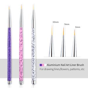 3pcs / Set 09.06 / 10mm Liner Pinsel Nail Art Malerei Metall Marmor Acrylzeichnung Blumen-Linie Feder-Polnisches UV Gel Tipps Maniküre Werkzeuge