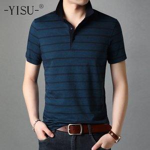 YISU Summer Fashion Men T Shirt Casual turndown collar Short Sleeve T Shirt Mens Clothing Casual stripe Top Tees Mens