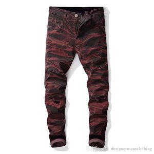 Hetero Designer Jeans Buracos estiramento Tie Dye longa dos homens Jeans Mid cintura regular Distrressed Vestuário Masculino