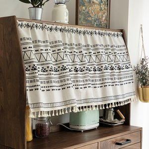 Bohemian Curtain Swag Cotton Linen Printing Short Window Treatment Closet Anti-dust Half Curtain Valance for Cafe Kitchen Room