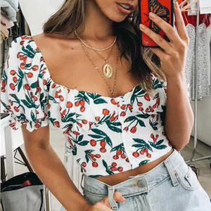 Summer Women shirt blouse tops tees Elegant 2019 Sexy retro u-neck Sweetheart Cherry Puff Sleeve shirt blouse female