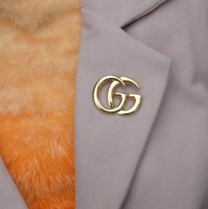 Designer di lusso Exquisite doppia lettera G spilla per le donne Dichiarazione di marca Moda spille Pins Accessori gioielli regalo 014