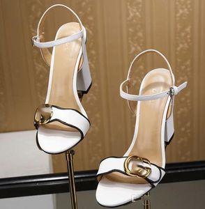 2020 yeni Markalı Kadınlar İnek Deri Yüksek topuk Sandal Lady deri Toka Kayış Lastik Sole Chunky Topuk Sandal 35-42