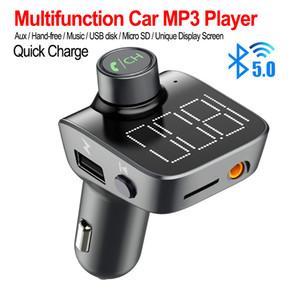 T15 multifunción para coche Adaptador Bluetooth Transmisor FM Pantalla grande AUX Audio Reproductor de MP3 Cargador de coche rápido