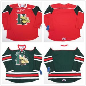 Halifax Mooseheads CHL maillot rouge rétro vert de hockey sur glace Jersey Cousu hommes Nom Numéro personnalisé Maillots