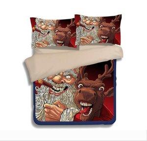 Christmas Bedding Sets Cartoon Santa Claus Reindeer Duvet Covers for King Size Bedding Duvet Cover Pillow Cover Pillowcase Christmas Gifts