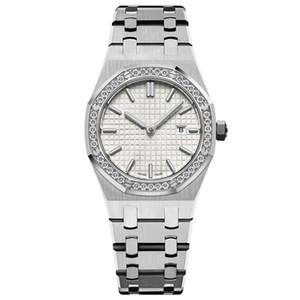 nuevos relojes de las mujeres reloj de oro 33MM lleno de la correa de acero inoxidable reloj de pulsera de calidad superior luminosa de zafiro resistente al agua 5 ATM relojes