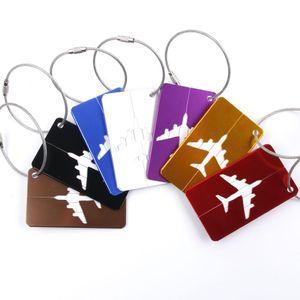 500шт алюминиевый сплав багажные бирки самолет форма квадратная идентичность адрес имя этикетки дорожные аксессуары багажная доска подарок партии