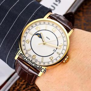 Patrimonium Moon Phase Miyota 8217 Automatik Herren-Uhr-Gelbgold weißen Zifferblatt Anzahl Stick-Marker Brown Leder Uhren Timezonewatch E50b2