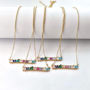 Gökkuşağı Kübik Zirkonya çekicilik narin kolye gerdanlık renkli CZ baget bırak charm kolye Kadınlar Takı NK438