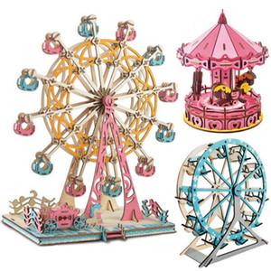 Puzzles Enfants bricolage 3D Kit de modèle sauteuses Grande roue Merry-Go-Round Jouets Cadeaux