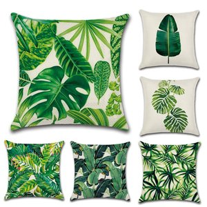 DHL-Tropical Plants Pillow Case Polyester Decorative Pillowcases Green Leaves Throw Pillow Cover Square 45*45cm Poszewki Na Poduszki