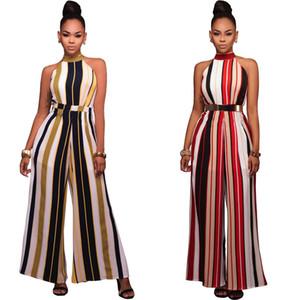 Mode-Frauen-Damen Clubwear Chiffon- Playsuit Bodycon Partei Striped Halter JumpsuitRomper