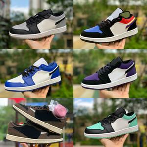 2019 Nike Air Jordan 1 retro jordans Low Travis Scotts Ts Scarpe da Basket Retros 1s High Mint Verde Turbo Verde Bianco Verde Blu Rosso Rosso Scarpe