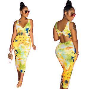 Verano flora Imprimir sin mangas color natural de las mujeres vestidos de cuello en V Backless atractivos de los vestidos ocasionales Dresss ropa de las mujeres
