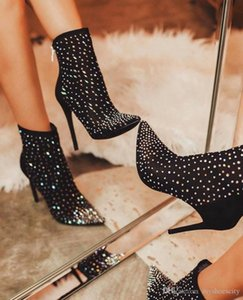 size 35 to 42 Black Rhinestone Pointed High Heel Ankle Boots Women Designer Shoes