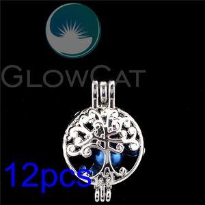 12x Life Tree Pearl Cage Perlas de difusor de aceites esenciales Jaula Medallón colgante para ostra R-K1175