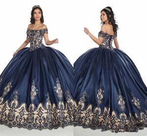 2020 Navy Blue Nude плечо Пром платье Quinceanera 3D Цветочной Аппликация кружево бисер корсет Назад Сладкий 16 Платье бальное Vestidos De