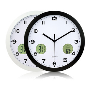 Freeshipping 1Pc High Quality 12-Stunden-Anzeigeformat 30cm Indoor And Outdoor Temperature Thermometer Wall Clock
